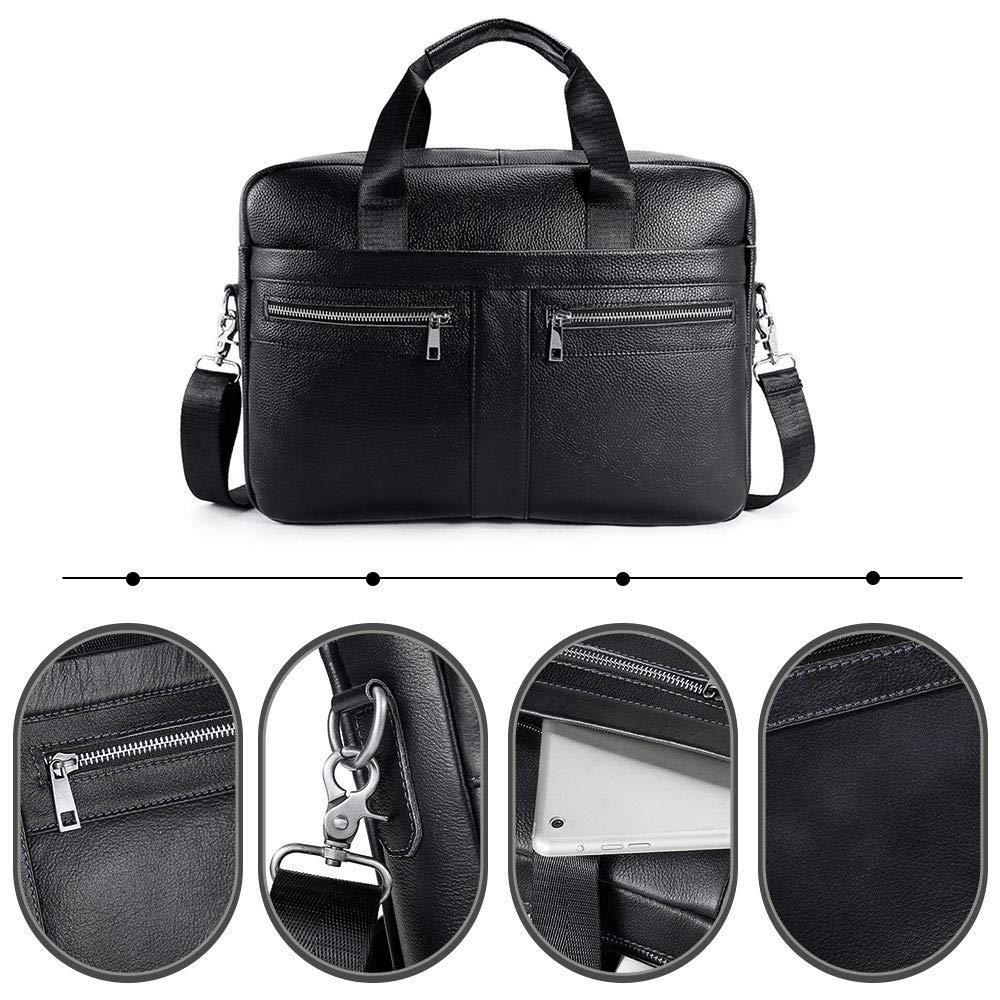 BAIGIO Men's 14'' Laptop Briefcase Genuine Leather Business Satchel Handbag Shoulder Tote Bag (Black) by BAIGIO (Image #4)