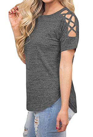 9064daa24def Summer Blouses for Women Cold Shoulder Lace Up Tops Basic Tees T-Shirt Gray  S