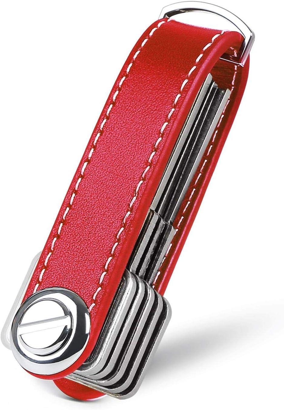 flintronic Organizador de Llaves | Llavero de Cuero Genuino | Titular de la Llave de Bolsillo Inteligente con un Elegante Estuche para Regalo (Sostiene Entre 7 y 9 Teclas Múltiples) - Rojo