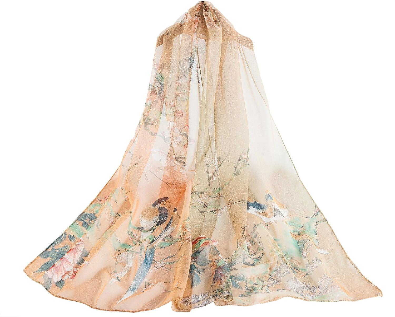 100% Foulard en soie Oiseau et fleur - Beige  Amazon.fr  Vêtements et  accessoires a02c20b636e