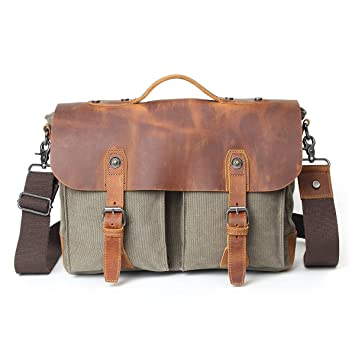 Amazon.com: Vintage Leather Messenger Bag Canvas Shoulder School ...