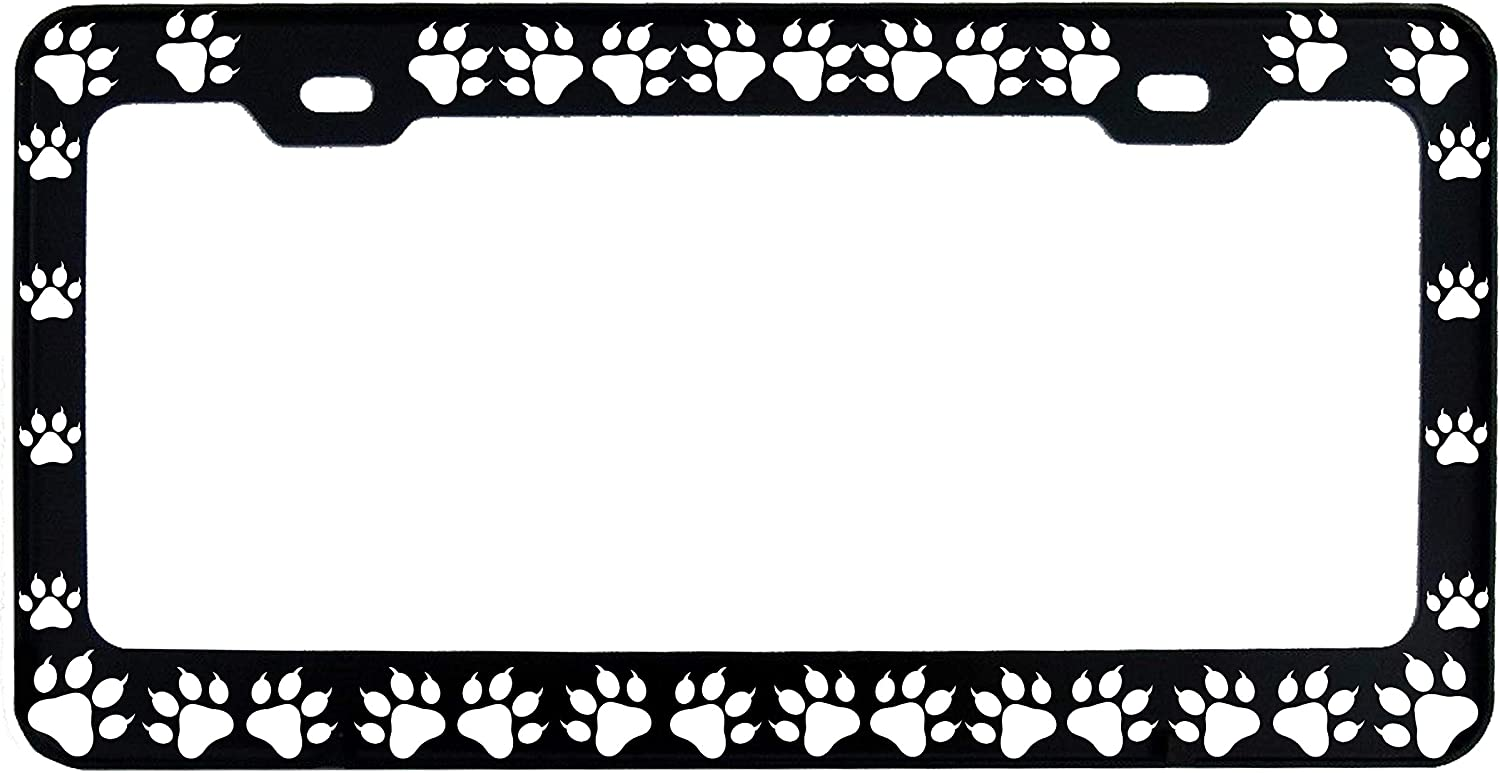 Cat Paws Steel Heavy Duty Black License Plate Frame Car Tag Holder
