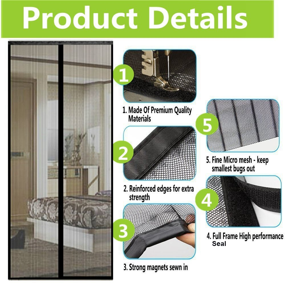 Homearda Magnetic Screen Door - Full Frame, Fits Door Up To 34x82 Inch