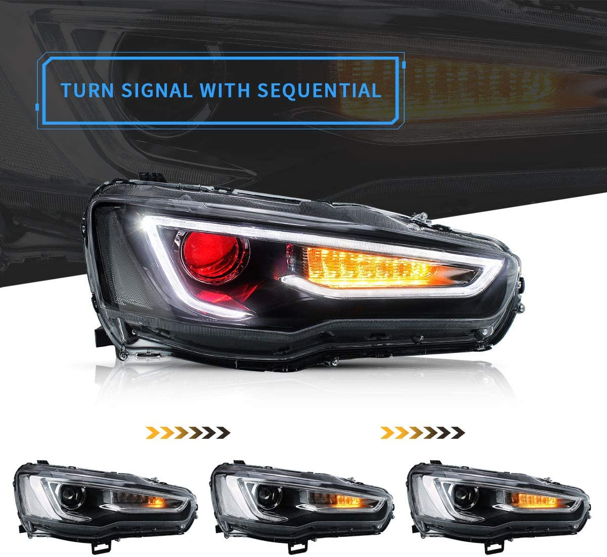 Front Lamp Assembly with Dual Beam Lens D2S// D2H Bulbs Not Included VLAND Projector LED Headlights Compatible with Mitsubishi Lancer EVO X 2008-2019 Driver and Passenger Side