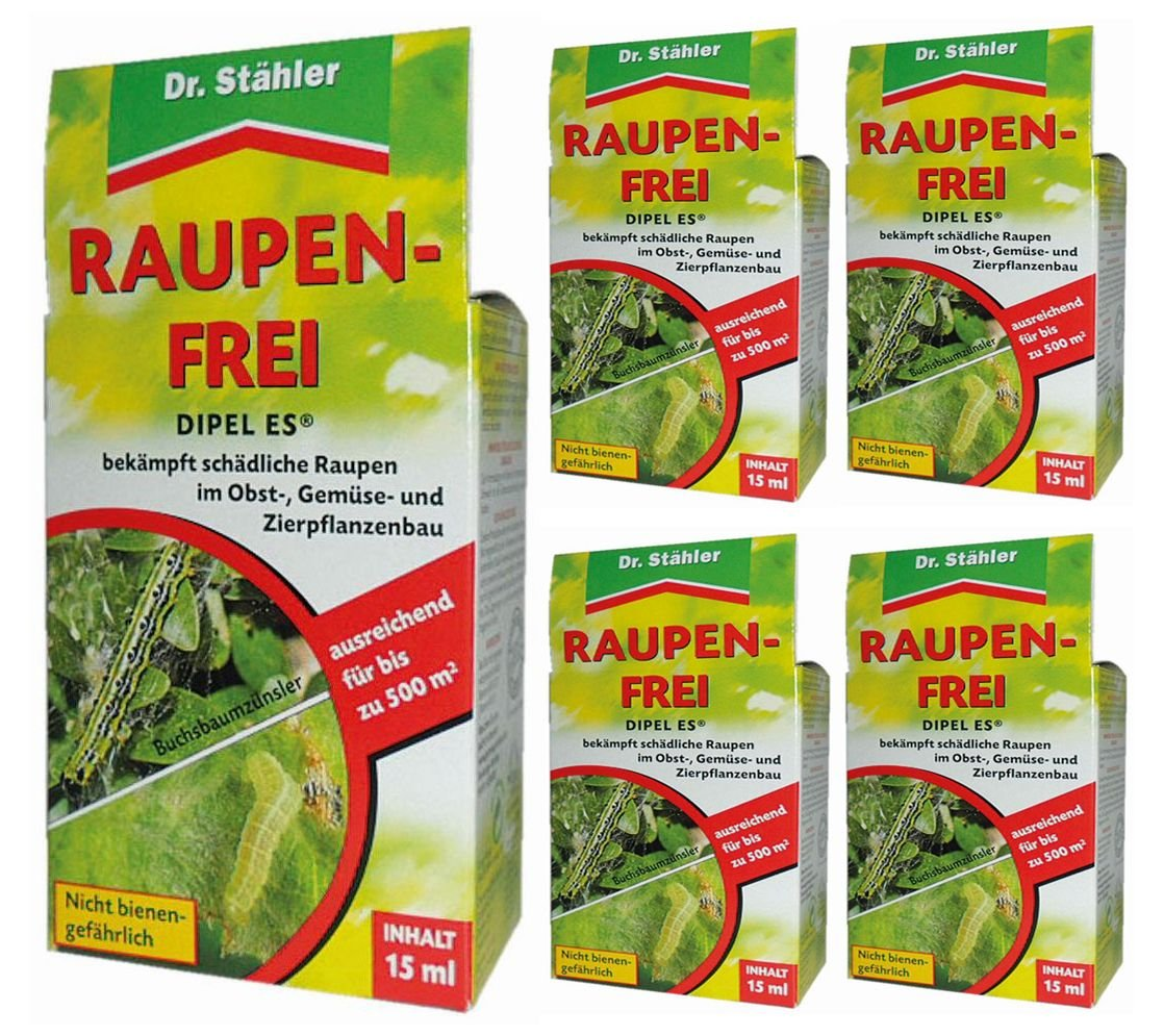 Oleanderhof® Sparset: 5 x DR. STÄHLER Dipel ES Raupenfrei, 15 ml + gratis Oleanderhof Flyer Dr. Stähler