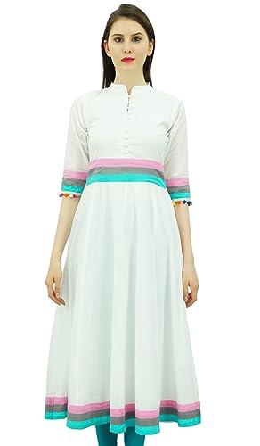 Bimba para mujer diseñador vestido de algodón Kurti Anarkali Kurta larga acampanada Con Pompón