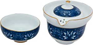 Porcelain Blue & White Tea Set for One from Bamboo Mist Tea - Teapot (200ml - 6.8 oz) - Cup (100ml - 3.4 oz) - Perfect Portable-Size Gaiwan for Travel or Office