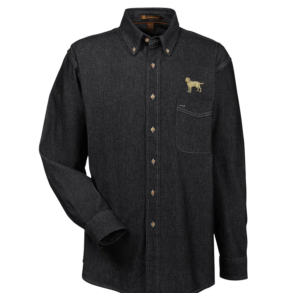 YourBreed Clothing Company Labrador Yellow Embroidered Mens 100/% Cotton Denim Shirt