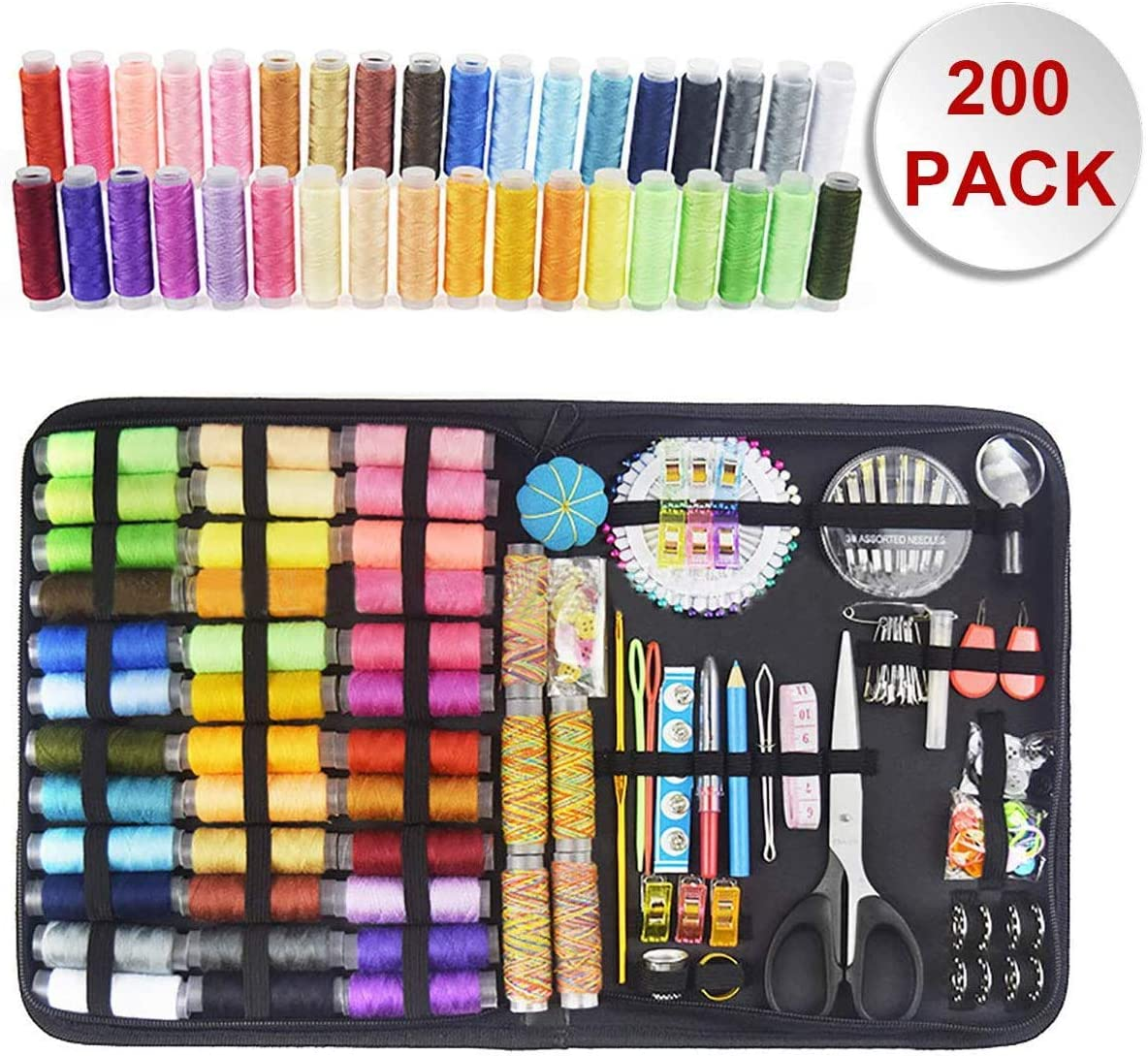 DIY and Family Premium Leisure Accessories and Supplies-41 XL Spools of Thread for Travelers Top-Spring Sewing Kit Beginners Emergency Repairs Children 200 Pcs Portable Travel Sewing Kit Adults