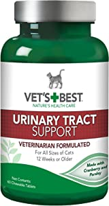 Vet's Best Cat Urinary Tract Supports Cat Supplements | Supports Cat A Healthy Urinary Tract | 60 Chewable Tablets