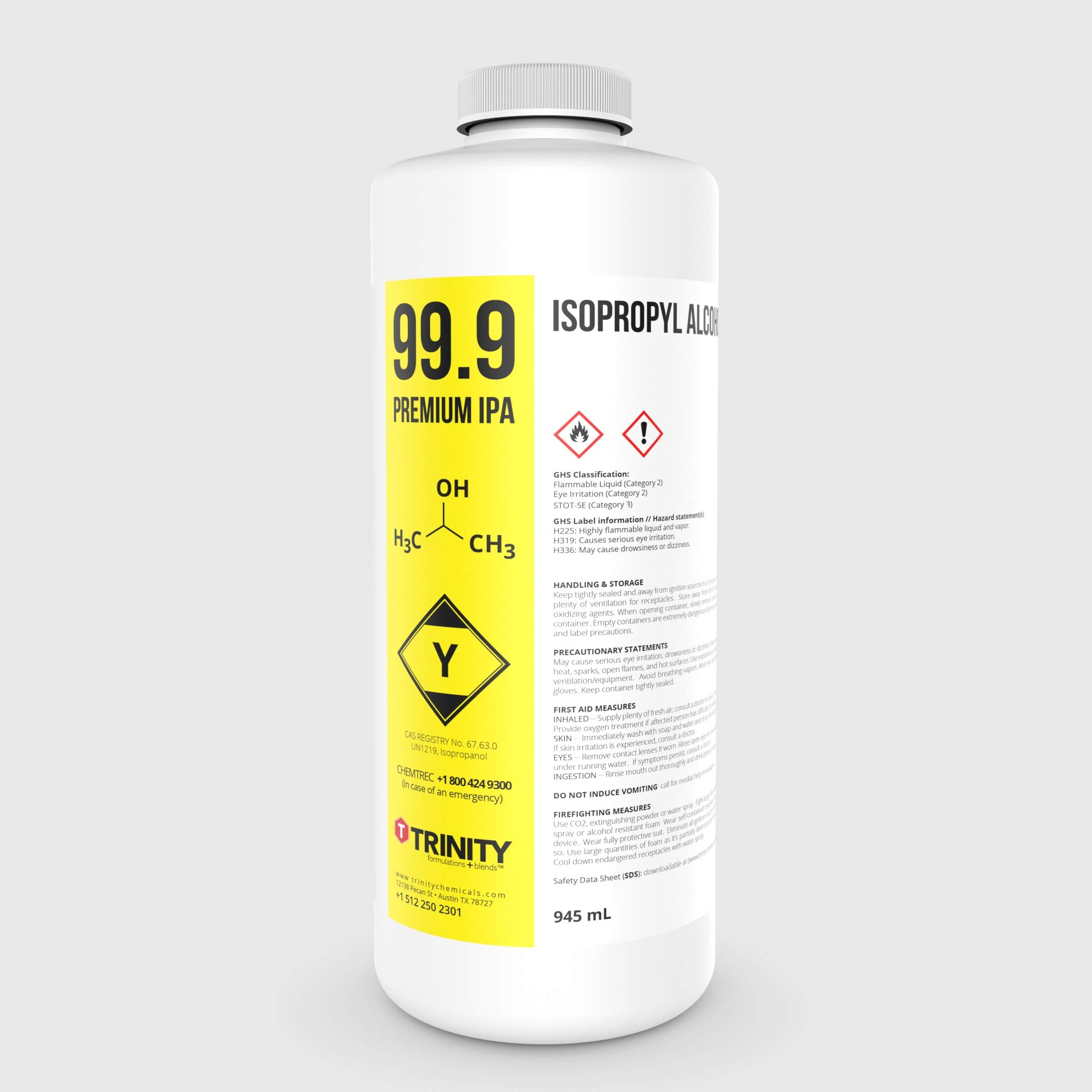 Isopropyl Alcohol 99.9% aka Isopropanol Alcohol 99.9% - A Laboratory-Grade Superior Solvent + Anhydrous USP Liquid Cleaner | 1 Quart (945 mL) by PREMIUM IPA