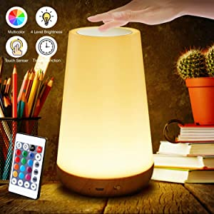 Biilaflor Touch Lamp, Portable Table Sensor Control Bedside Lamps with Quick USB Charging Port, 5 Level Dimmable Warm White Light & 13 Color Changing RGB for Bedroom/Office/Hallways