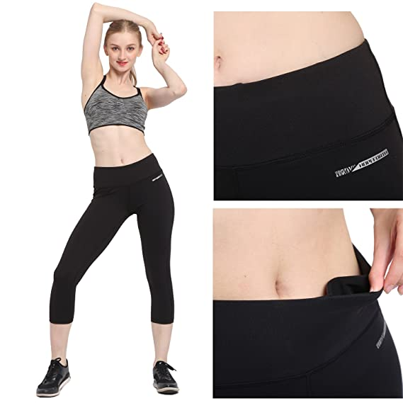 1783fd37e363b HOPEFORTH Women s Yoga Ankle Legging Power Flex Pants Capri Compression  Inner Pocket at Amazon Women s Clothing store