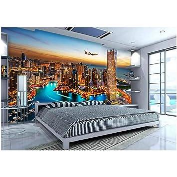 Msyiku Silk 3d Room Wallpaer Custom Photo Mural Night At Dubai Tv