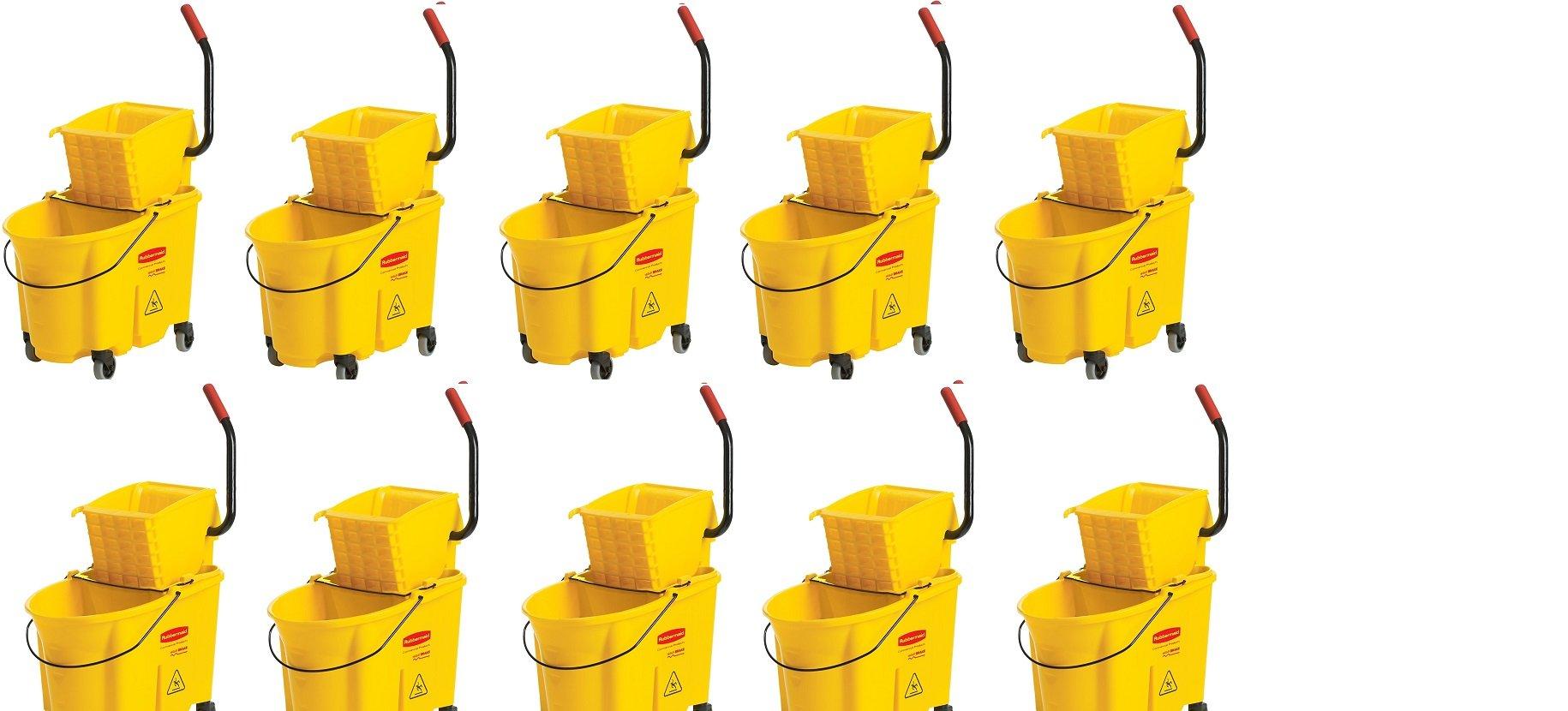 Rubbermaid Commercial FG758088YEL WaveBreak Side Press Combo (10,,Buckets)