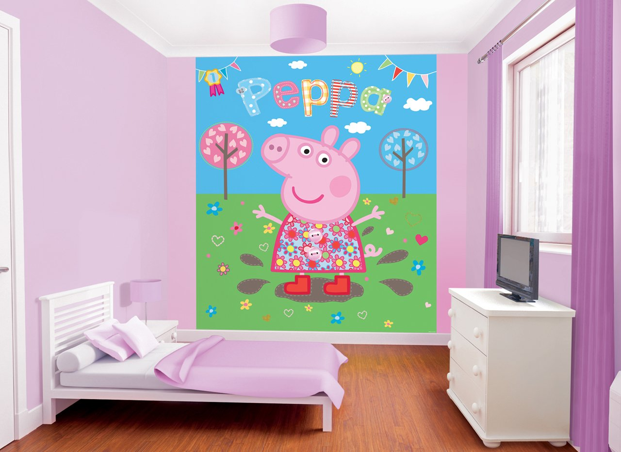 Walltastic 8 x 66 ft peppa pig muddy puddles mural wall paper walltastic 8 x 66 ft peppa pig muddy puddles mural wall paper amazon kitchen home amipublicfo Images