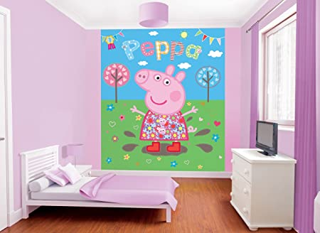 Walltastic 8 x 66 ft Peppa Pig Muddy Puddles Mural Wall Paper