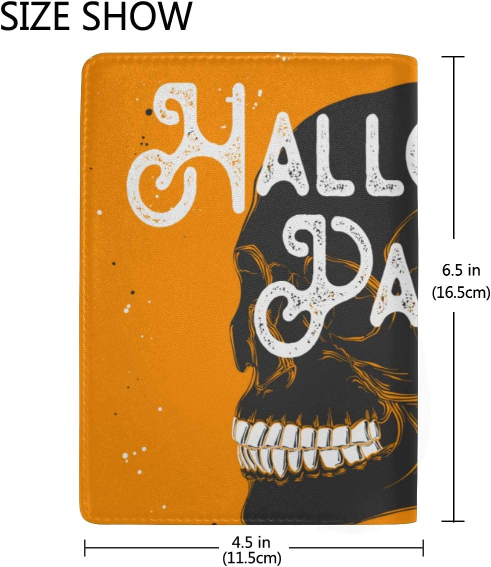 Young People Hip-hop Cool Skulls Blocking Print Passport Holder Cover Case Travel Luggage Passport Wallet Card Holder Made With Leather For Men Women Kids Family