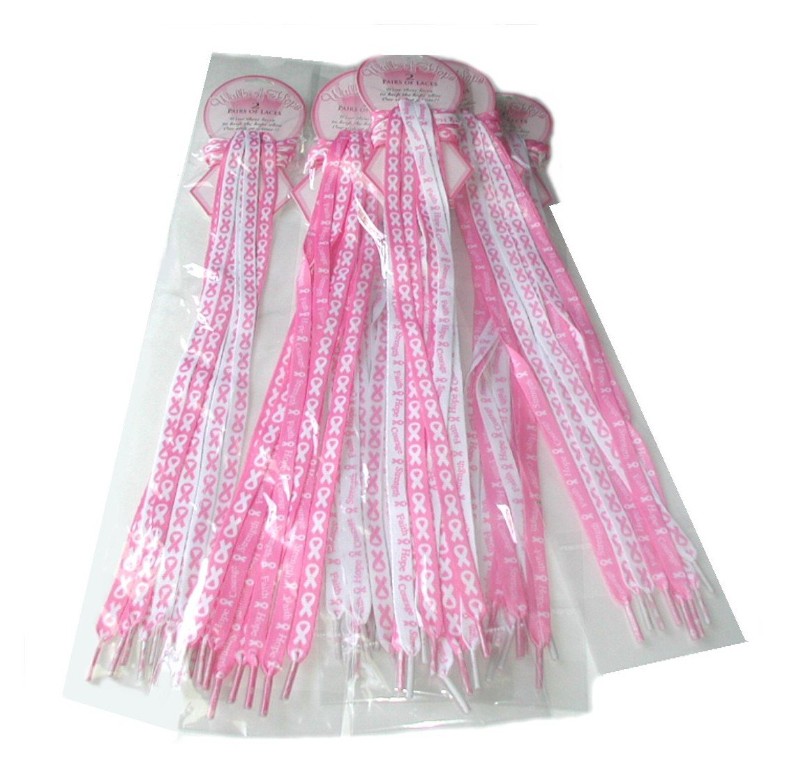 Lot Of 12 Pair - Pink Ribbon Shoe Laces - Breast Cancer Awareness - Fundraising Shoelaces