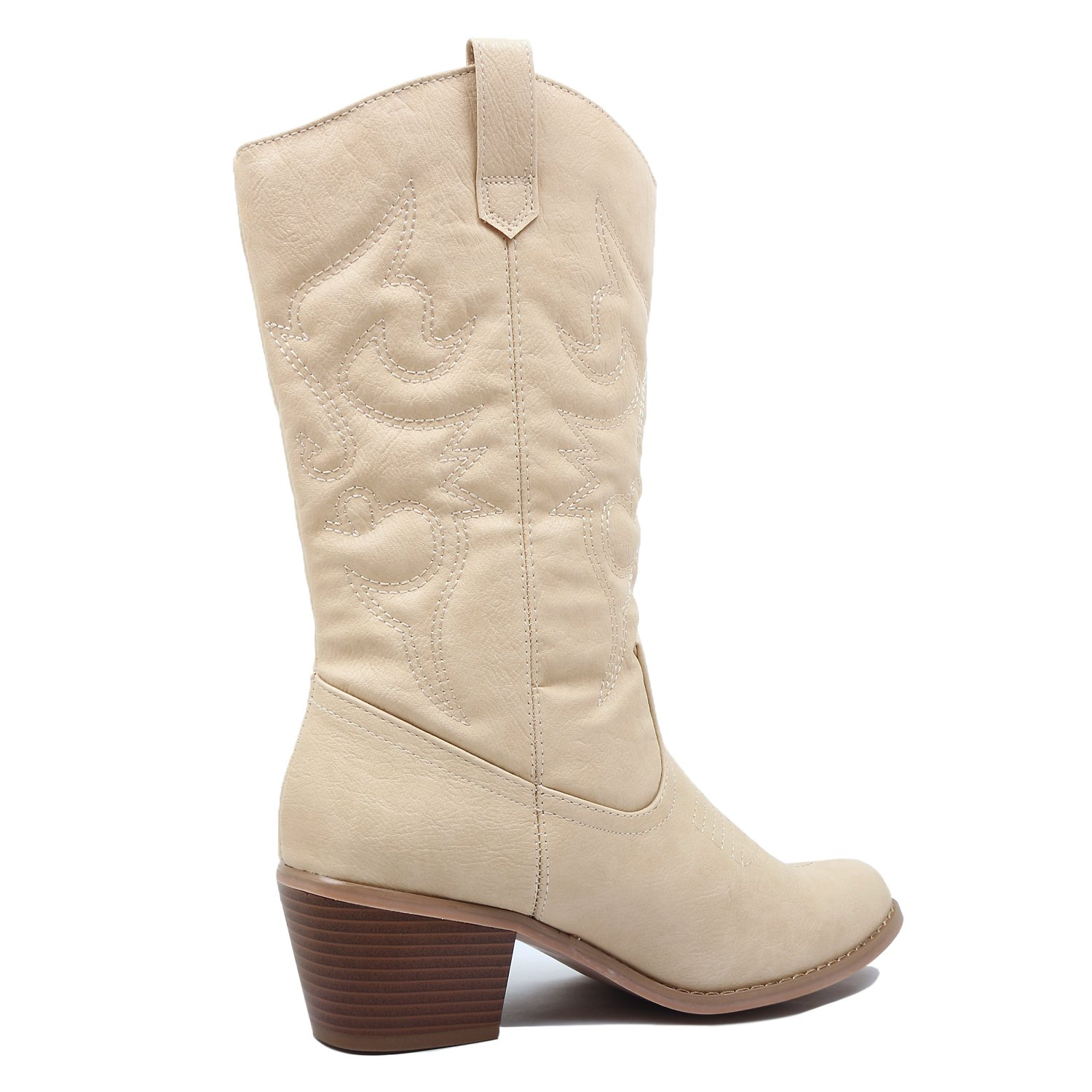 West Blvd Miami Cowboy Western Boots Boots, Beige Pu, 10 (B) M US by West Blvd (Image #5)