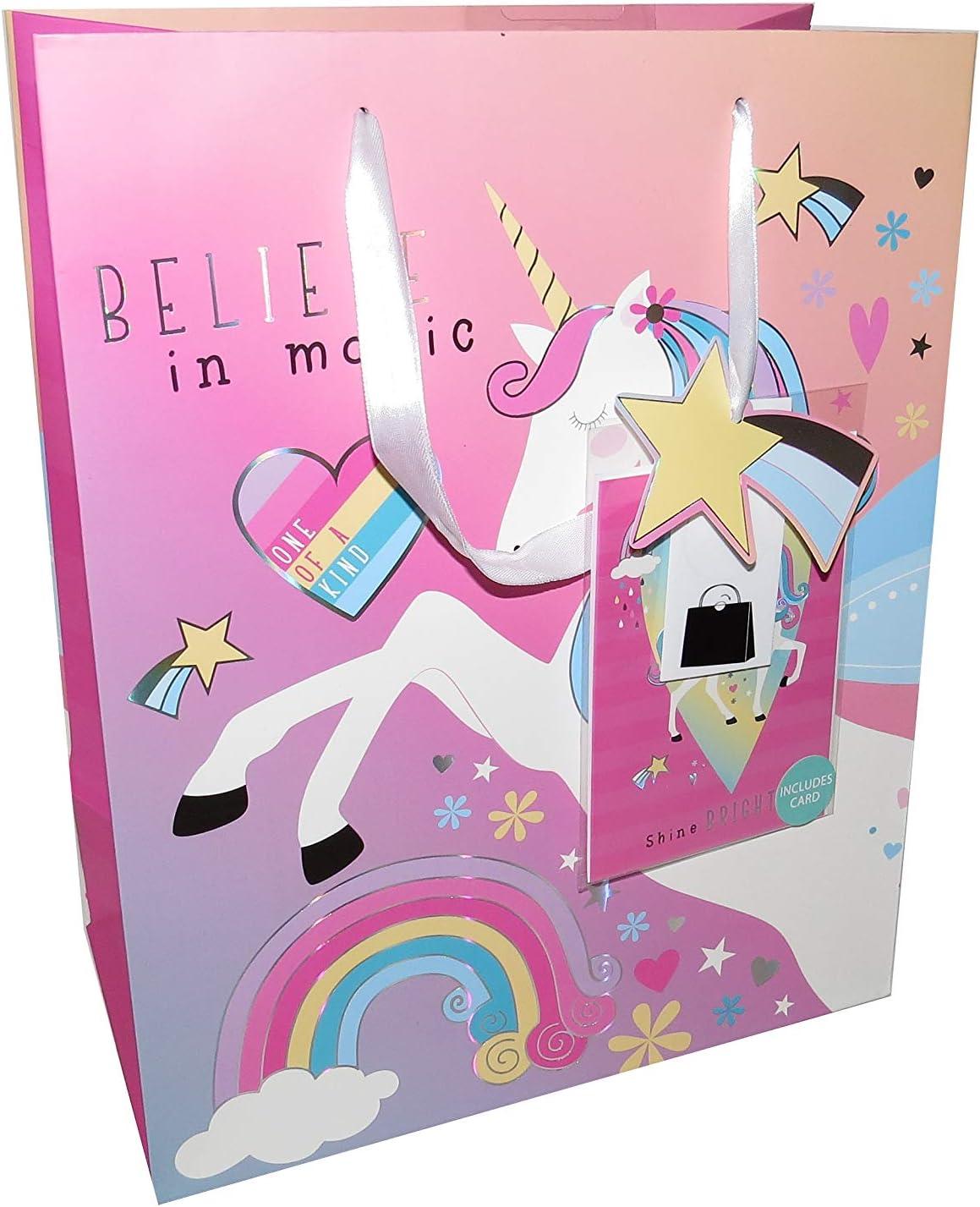 X6 grandi sacchetti regalo di carta con unicorno Believe in Magic con etichette regalo e biglietto di compleanno per bambini