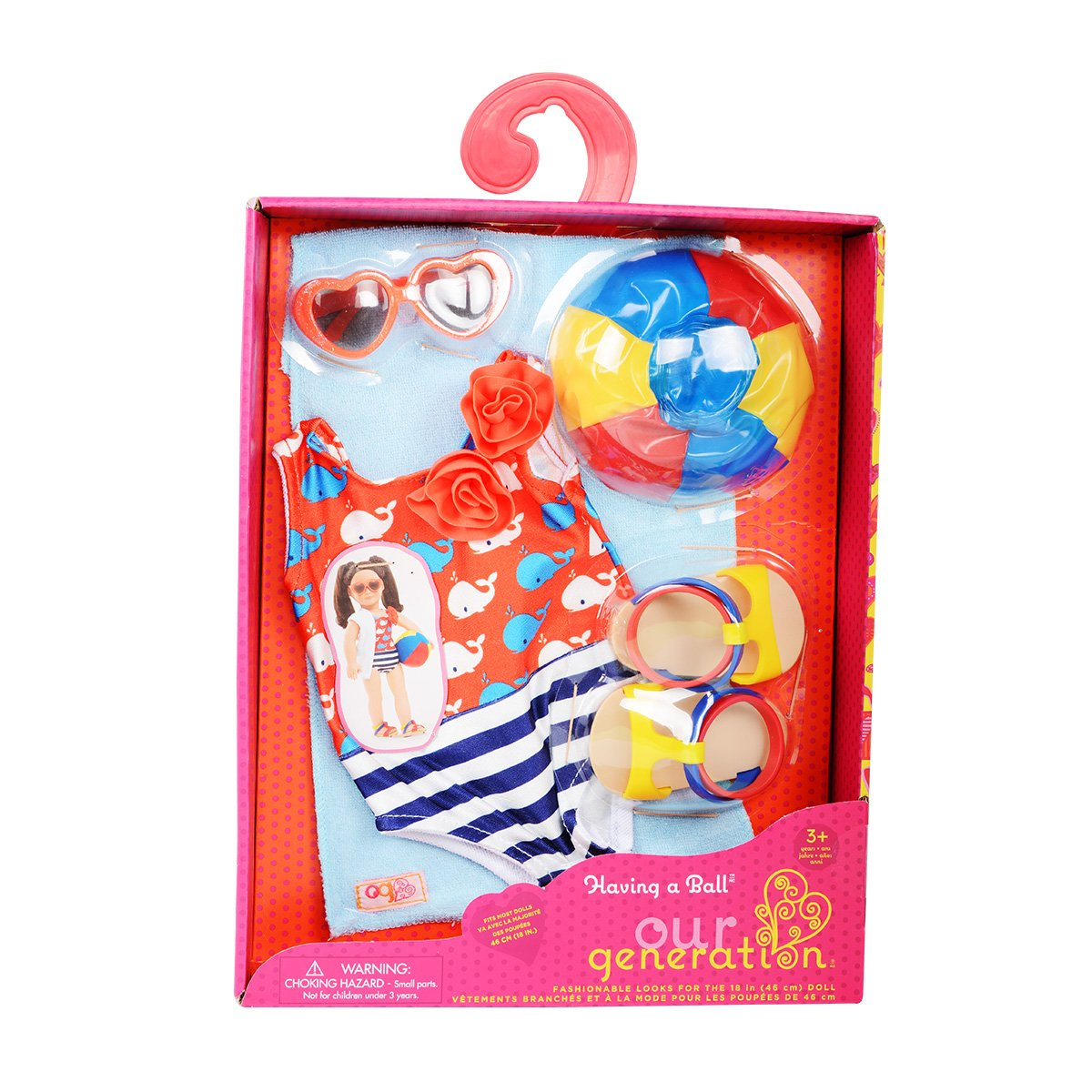 Our Generation Dolls Having A Ball-18-Inch Doll Swimsuit with Whales Outfit Borgfeldt BD30184Z