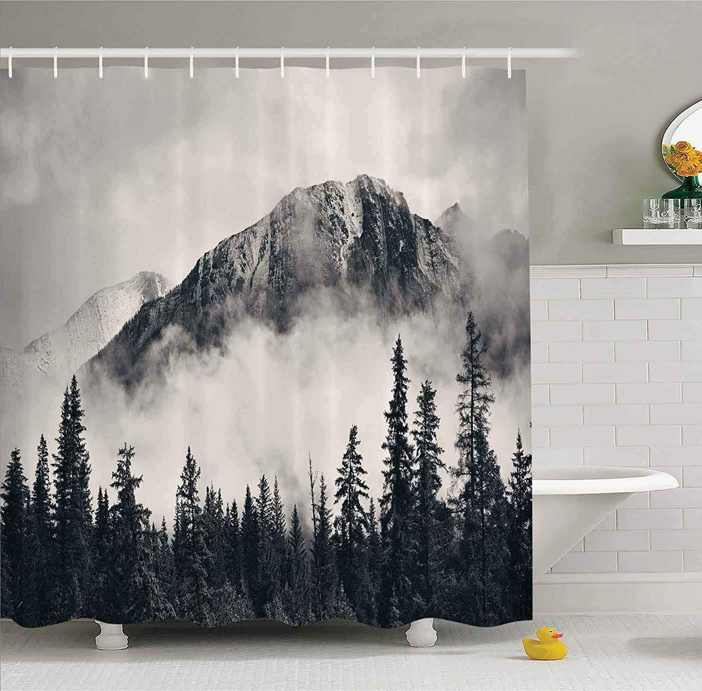 """Canadian Smoky Mountain Cliff Outdoor Idyllic Photo Art Shower Curtain No Liner, National Parks Home Decor Curtain, Waterproof Polyester Fabric Bathroom Shower Curtain with Hooks 72"""" x 72"""""""