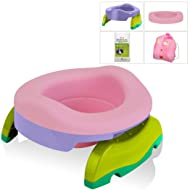 Kalencom Potette Potty Value Bundle: Potette Plus 2-in-1 Travel Potty | Home-Use Collapsible Reusable Potty Liner | 10-Pack Disposable Potty Liners | Drawstring Carry Bag (Lilac/Pink)