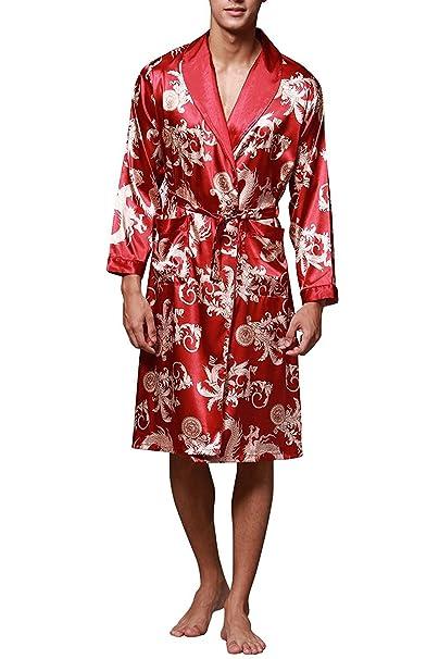 TieNew Baño para Hombre,Satén Kimono Pijamas, Bata Albornoz de para Dormir/Casa