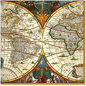 Entertaining with Caspari World Map Paper Cocktail Napkins, Pack of 20