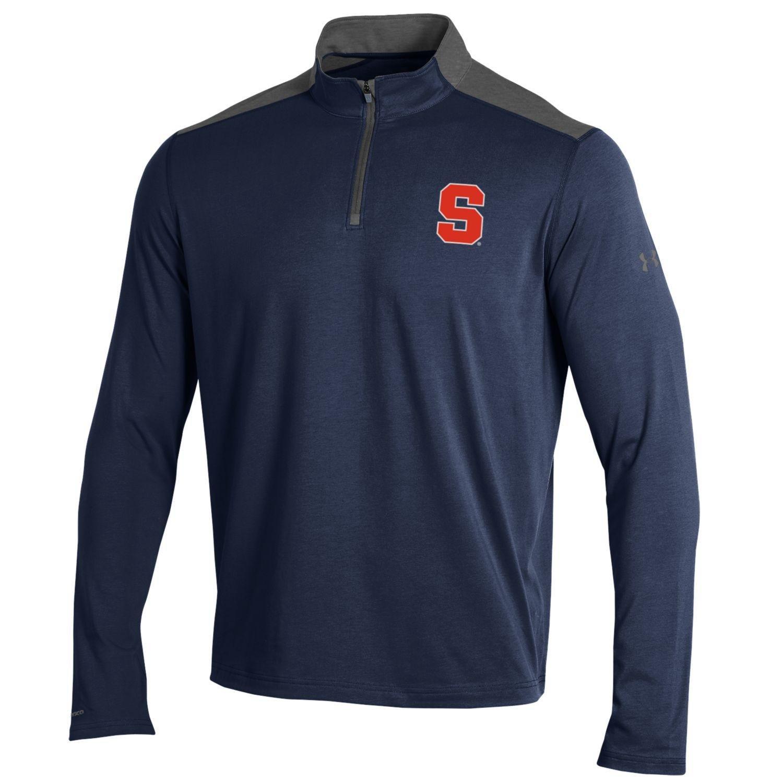 NCAAメンズunder armour Chargedコットン軽量1 / 4 Zip B0757CJFG4 Large|ネイビー(Midnight Navy)|Syracuse Orange ネイビー(Midnight Navy) Large