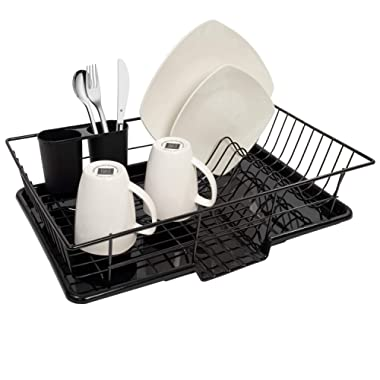 Sweet Home Collection 3 Piece Rack Set Dish Drainer Drain Board and Utensil Holder Simple Easy to Use, 12  x 19  x 5 , Black