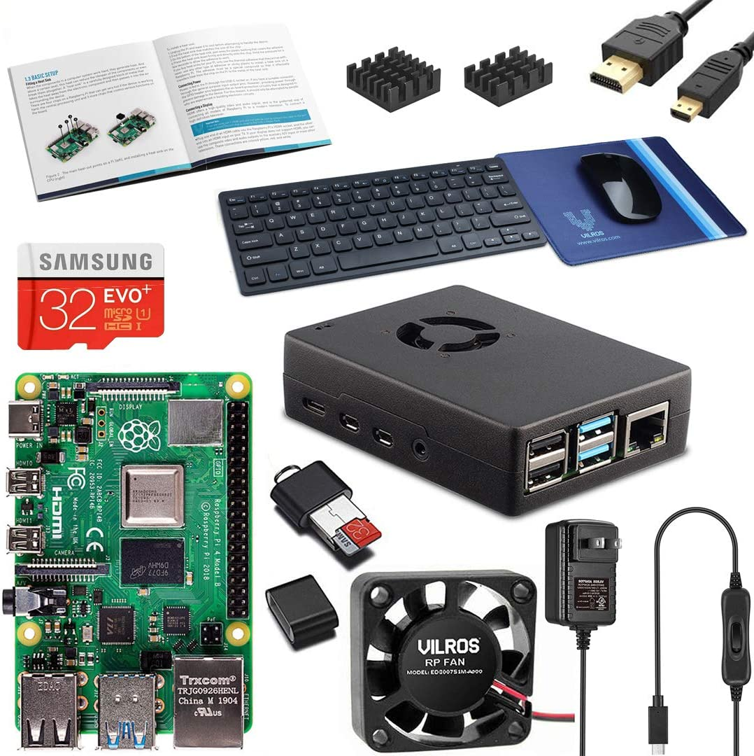 Vilros Raspberry PI 4 Model B Complete Desktop Kit with Keyboard and Mouse Set (4GB, Black Case)