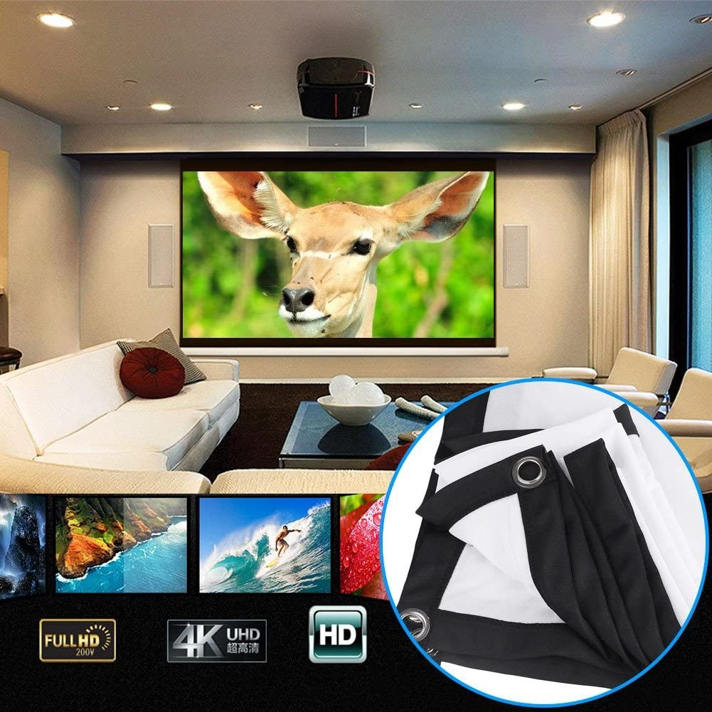 Projector Screen 72in Portable Movie Screen 16:9 HD Foldable Anti-Crease Projection Movies Screen with Hooks Projector Screen for Home Theater Outdoor Indoor