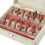 KSEIBI 103119 1/4 Inch Shank Tungsten Carbide Router Bit Set Woodworking (12Pack)