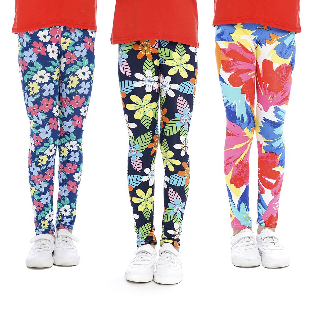 slaixiu Girls Leggings Stretchy Kids Pants Classic Printing Flower Pattern
