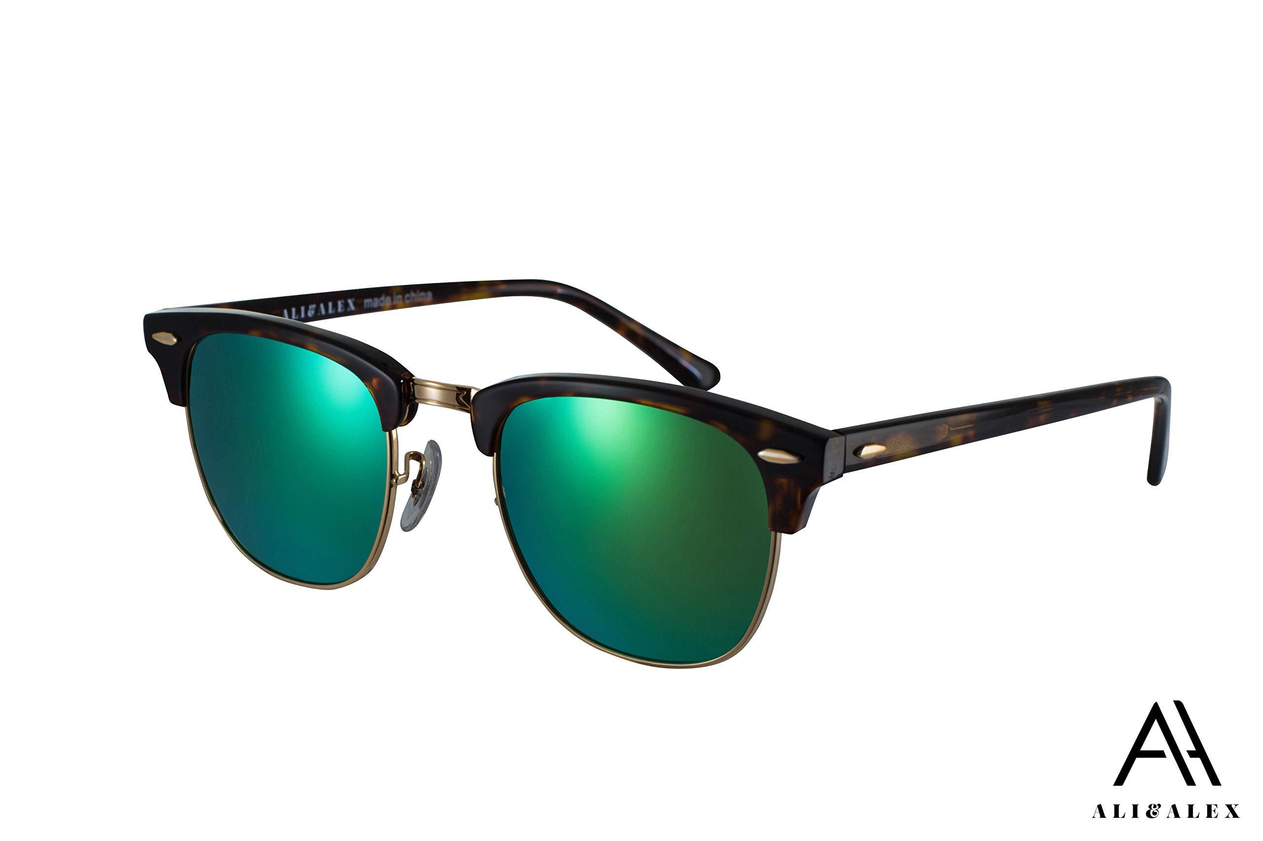 Ali&Alex Jamie Clubmaster Semi Rimless UV Polarized Adult Designer Sunglasses for Men & Women