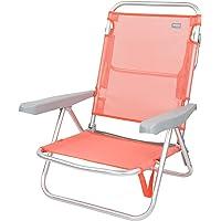 Aktive 62627 - Silla de playa plegable, reclinable, 5 posiciones, con asa de transporte, 61x48x80 cm, altura 21 cm…
