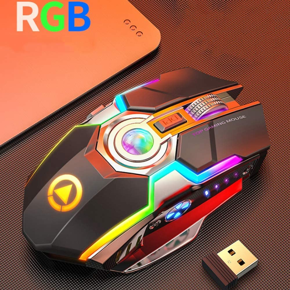 Color : Black HBBOOI Colorful Mute Wireless Optical Mouse Rechargeable 8-Key Programmable Button 2.4GHz Streamlined Shape Ergonomic Mouse for PC Computer Laptop Notebook