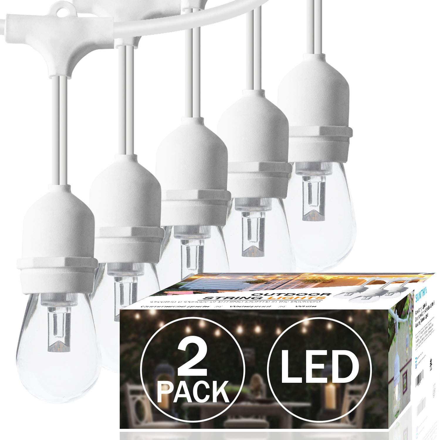 SUNTHIN 2-Pack 48ft LED Outdoor String Lights Hanging light 18 x 0.9 Watt S14 Edison Bulbs 18 x 0.9 Wat Patio Lights With White Cord Waterproof wedding String lighting 3 Spares 15 x E26 Sockets