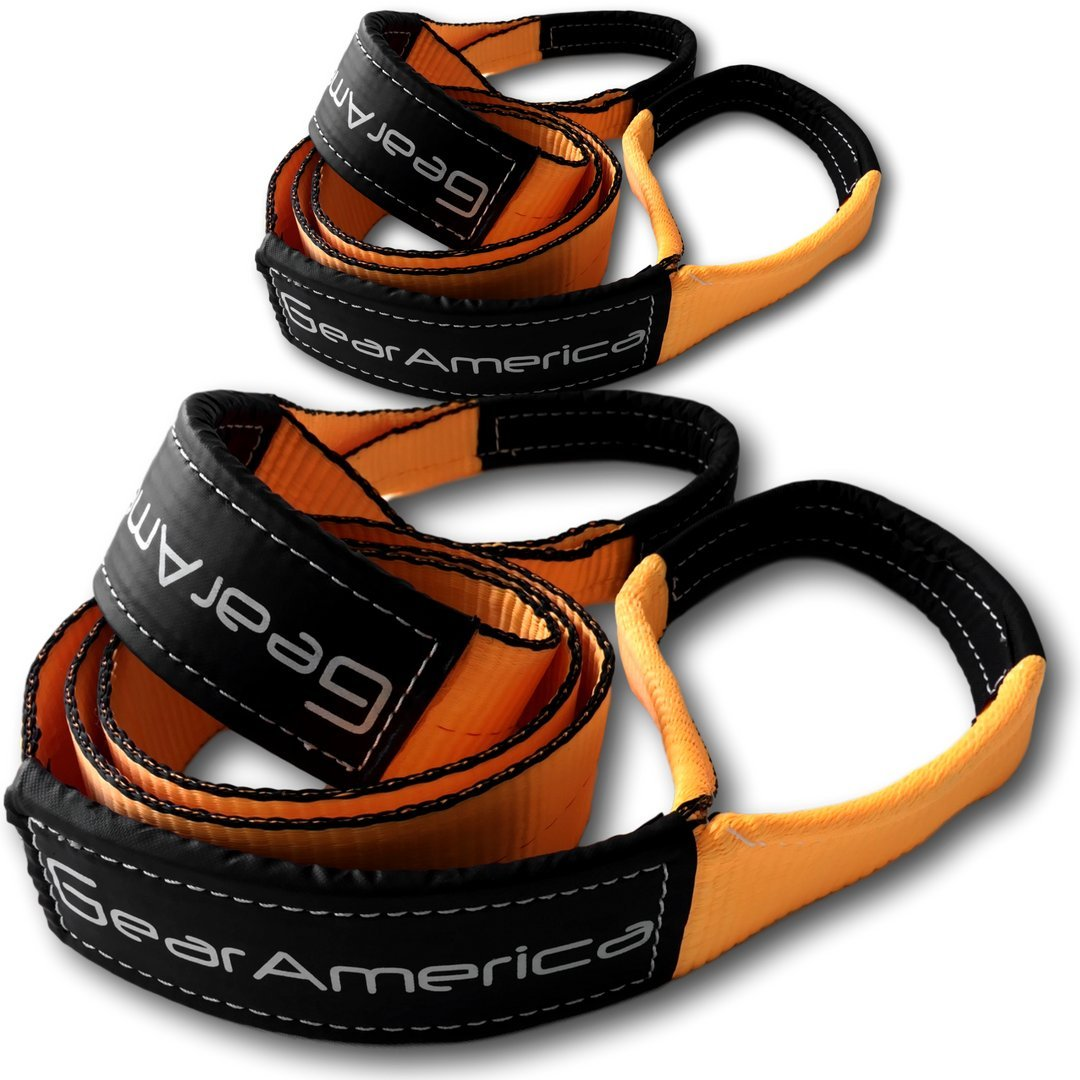 GearAmerica (2PK Tree Saver Winch Straps 3'' x 8' | Lab Tested 35,000 lb (17.5 Tons) Strength | Heavy Duty Towing and Recovery | Triple Reinforced Loops + Protective Sleeves | Free Bonus Bag + Tie
