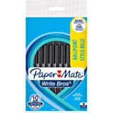 Paper Mate Write Bros. Stylo Bille, Pointe Moyenne (1,0 mm), Encre Noire, Lot de 10