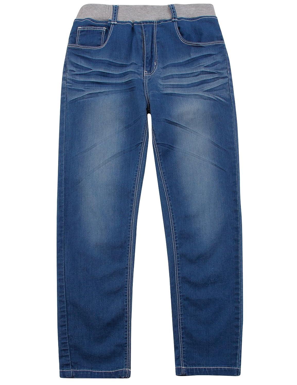 BYCR Boys Skinny Denim Jean Elastic Waist Pant for Kids Size 4-18 No. 7160108152 (130 ( US Size 6-7 ), blue)