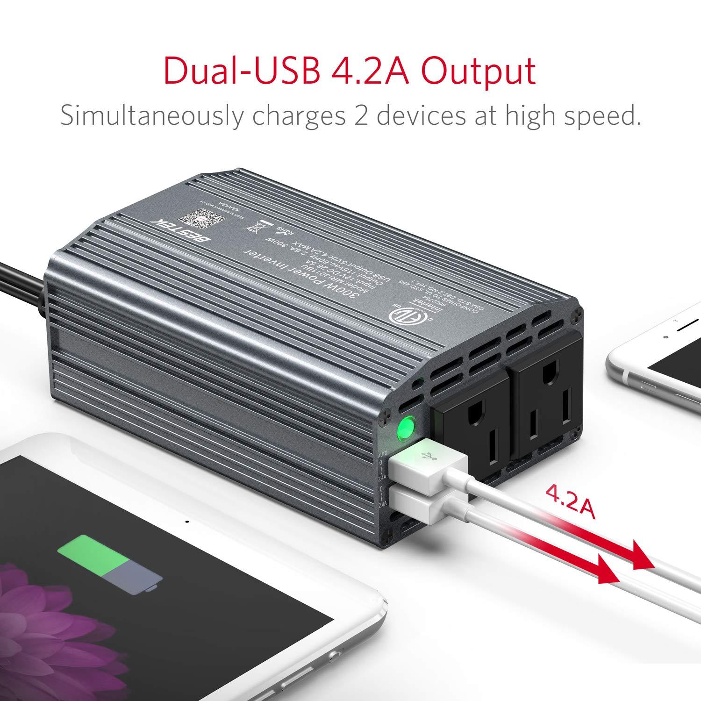 BESTEK 300W Power Inverter DC 12V to 110V AC Car Inverter with 4.2A Dual USB Car Adapter (Gray) by BESTEK (Image #1)