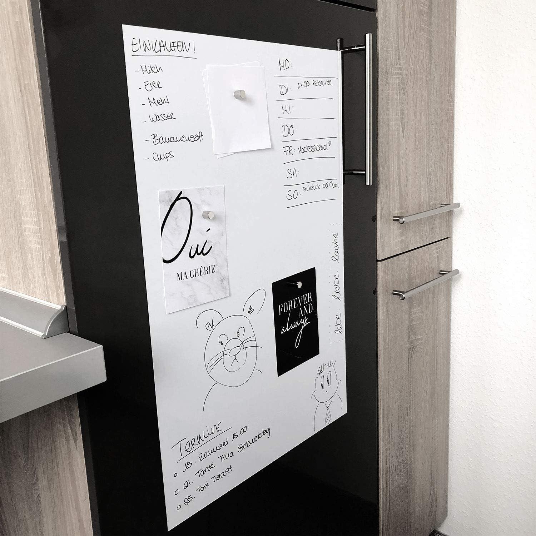 Stift Blanc. Magstick/® Film autocollant pour tableau blanc Magnete Pour aimants I film Ferro Blanc 60 x 40 cm Adh/ésif flexible