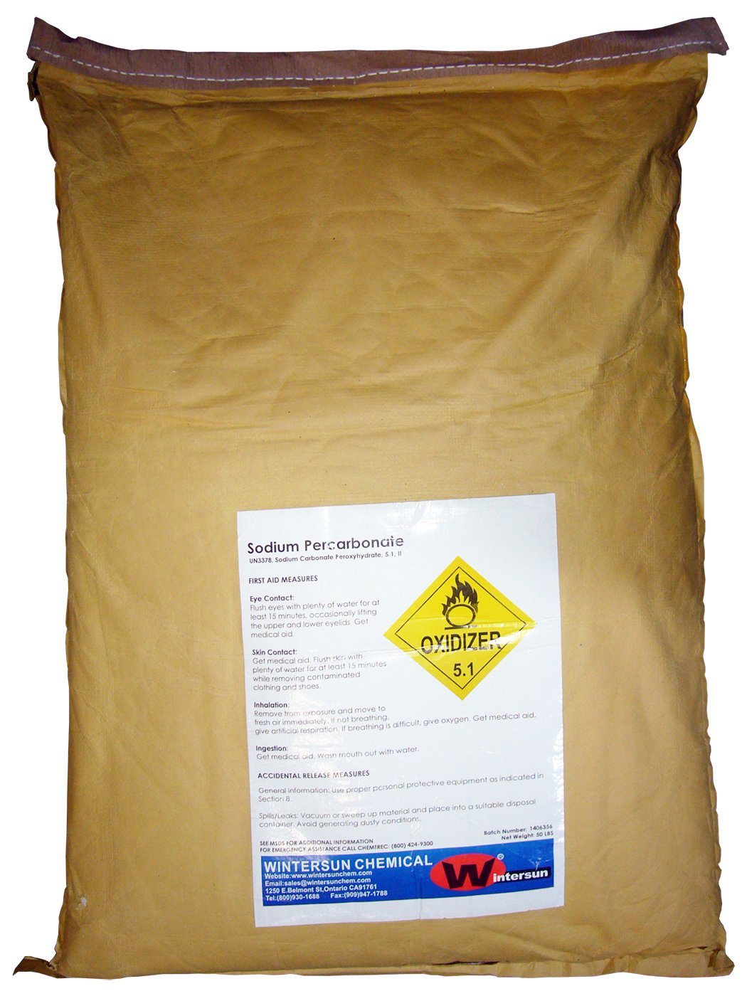 Sodium Percarbonate (Coated) [2Na2CO3.3H2O2] [CAS_15630-89-4] 85+% White Free Flowing Granules (50 Lbs Bag) by Wintersun Chemical