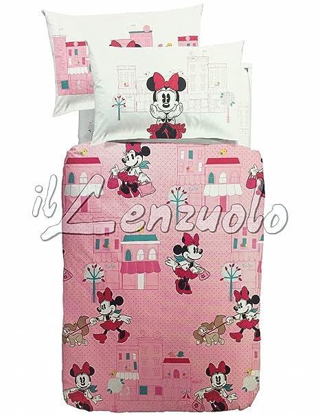 Completo Copripiumino Caleffi Disney.Completo Copripiumino Disney Una Piazza E Mezza Minnie City Di Caleffi