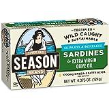 Season skinless & boneless sardines in pure olive oil 4.375 oz. pack of 12