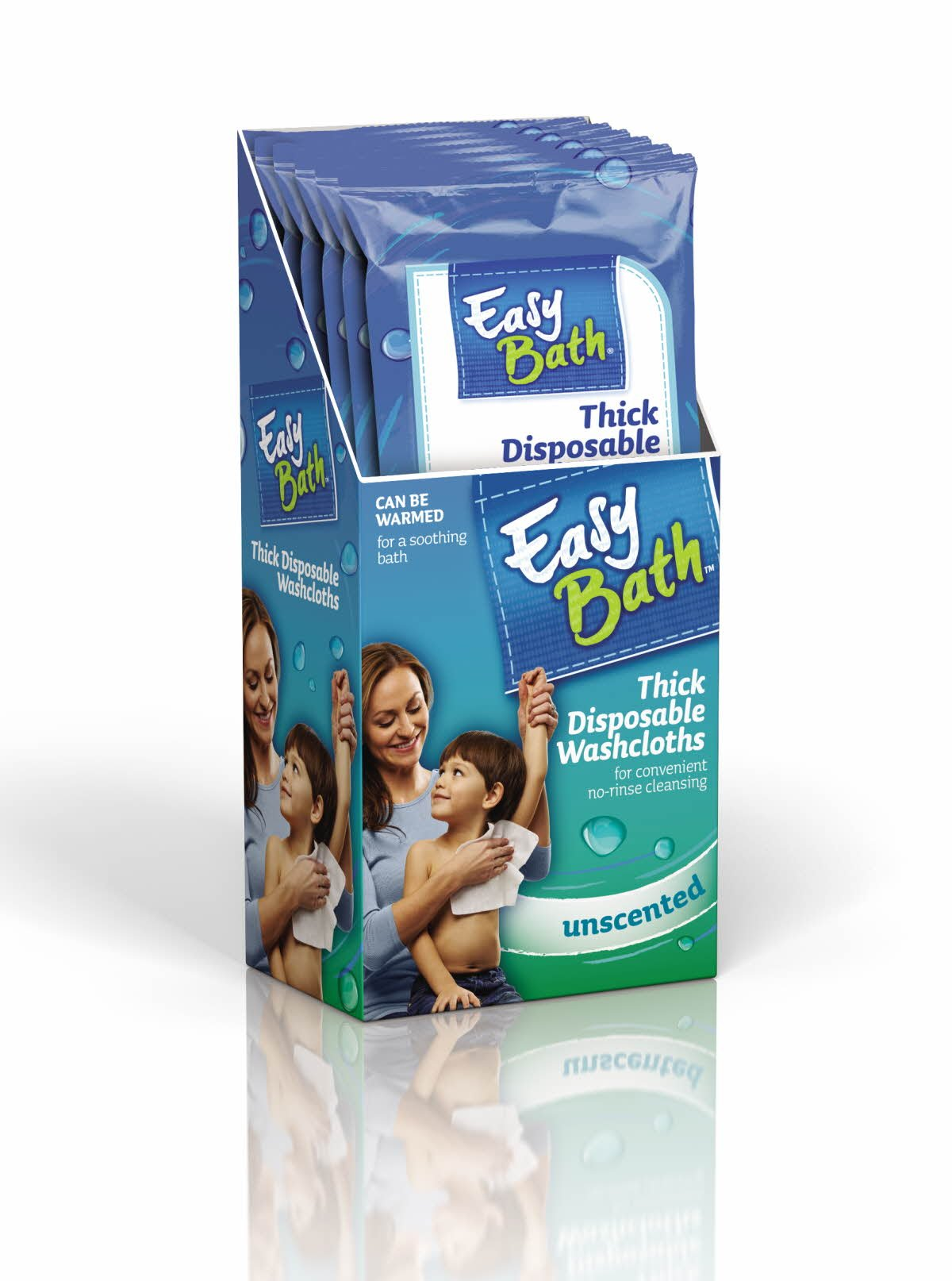 EasyBath Thick Disposable Washcloths, Unscented, 5 Count (Pack of 6)