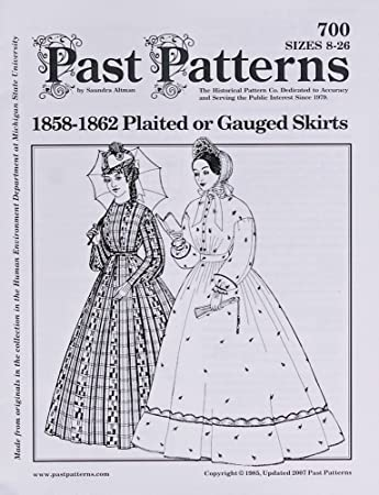 Amazon com: Past Pattern #700 1800's Skirt Gathered or